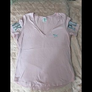 PINK light pink tee with sequin detail size L